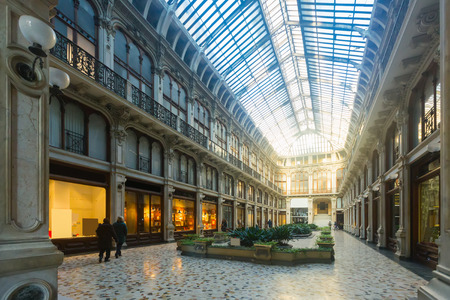 Picture of view of Turin city central historical building Subalpina arcade , Italy