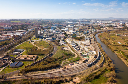 BARCELONA, SPAIN - MARCH 05, 2019: Aerial view of chemical process plant of INOVYN in Martorell manufacturing VCM and PVC Redakční