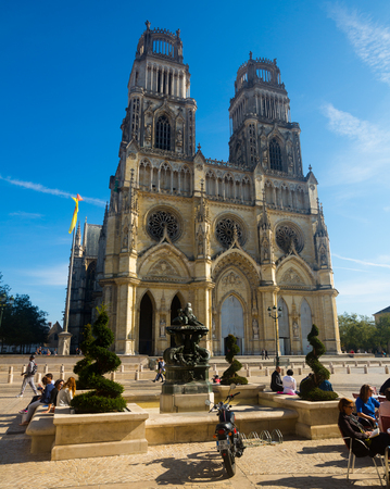 ORLEANS, FRANCE - OCTOBER 09, 2018: View of Orleans Gothic Cathedral of Holy Cross, France