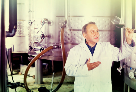 Diligent positive smiling wine maker controls quality of wine at winery