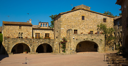 Edifices on main square in the Catalan village of Monells, Spain Imagens