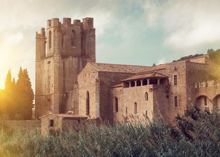 of Castle of  Sainte-Marie dOrbieu, part of history of Lagrasse, France 報道画像