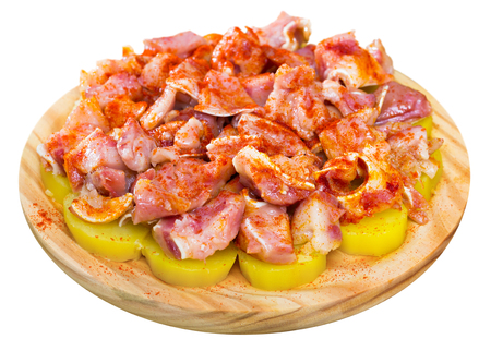 Orejas a la gallega - spanish dish. Roast pigs ears with spice. Isolated over white background