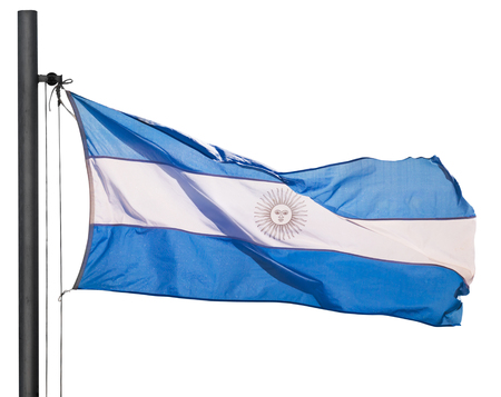 Blue and white flag of Argentina with May sun on white strip. Argentina, South America. Isolated over white background