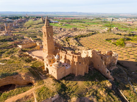 Panoramic view of old temple in destroyed in Spanish Civil War town Belchite, Spain Imagens