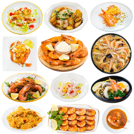 Collage of different tempting dishes cooked with prawns isolated on white background Banco de Imagens