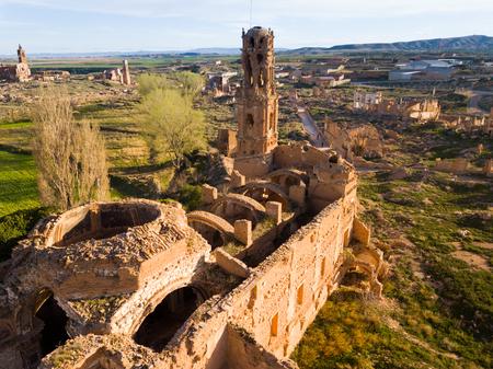 Vue aérienne de la ville fantôme de Belchite ruinée au combat pendant la guerre civile espagnole Banque d'images