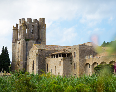 Image of Castle of Abbey Sainte-Marie dOrbieu, part of history of Lagrasse, France 写真素材