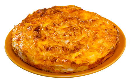 Traditional dish of Bulgarian cuisine – Banitsa. Whisked eggs and pieces of cheese between pastry. Isolated over white background