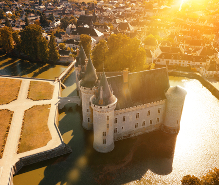 Aerial view of castle Chateau de Sully-sur-Loire, France 写真素材
