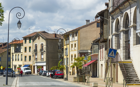 View of picturesque houses on streets of Salies-du-Salat, France