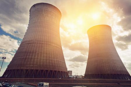 View of pipes of nuclear power plant near Dampierre-en-Burly town, France Foto de archivo