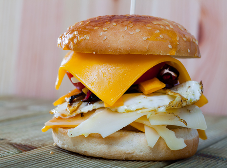 Heerlijke cheeseburger met runderkotelet, gebakken ei en diverse kaas op bord