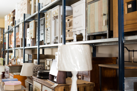 Wide range of vintage furniture and home design objects in showroom