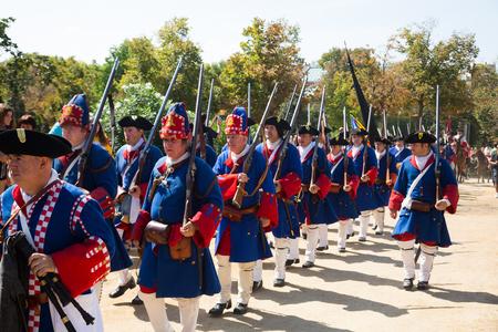 BARCELONA, SPAIN  - SEPTEMBER 11, 2018:  Costumed procession on the Day of Catalonia in Park de la Ciutadella