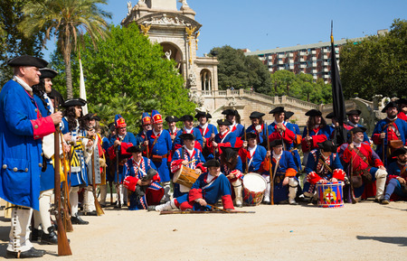 BARCELONA, SPAIN  - SEPTEMBER 11, 2018:  Portrait of people at costumed procession on the Day of Catalonia in Park de la Ciutadella