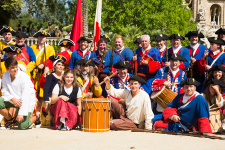BARCELONA, SPAIN - SEPTEMBER 11, 2018: Portrait of people in uniforms of  historical units of Catalan armies celebrating National Day of Catalonia in Parc de la Ciutadella 報道画像
