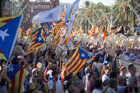 BARCELONA, SPAIN – SEPTEMBER 11, 2016: traditional annual celebration of  Dia de Catalunya in Barcelona