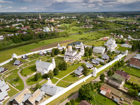Panoramic aerial view of  of Pokrovsky monastery in Suzdal ,  Russia