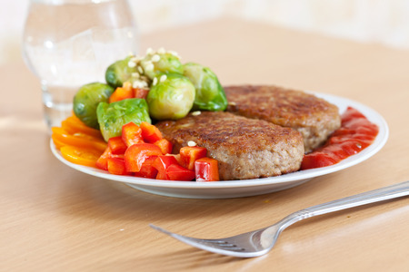 Fast food. Two fried cutlets Stock Photo