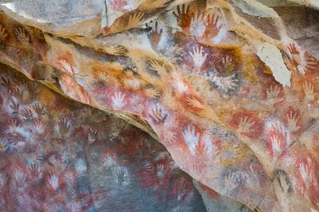 Berühmte Reihe Höhlen Cueva de Las Manos mit Malereien von Händen in Argentinien