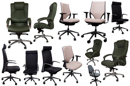 Assorted set of adjustable office chairs isolated on white background