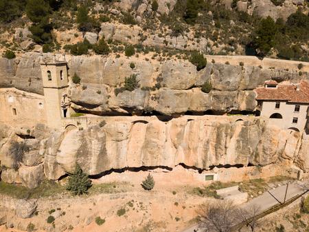 Impressive religious complex Sanctuary Mare de Deu de Balma built in rock, Sorita, Castellon, Spain
