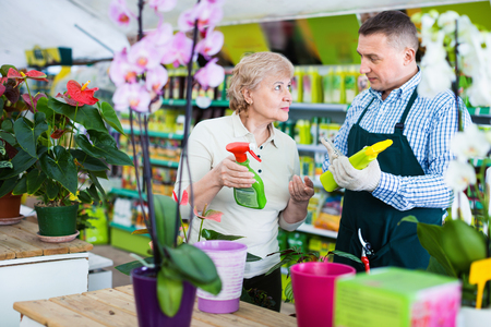 Two  diligent efficient  glad gardener are choosing substances for care of flowers in greenhouse. Фото со стока - 121452111