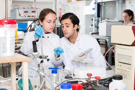 Deux bons techniciens de laboratoire discutant tout en travaillant avec des réactifs dans des tubes à essai pendant une expérience chimique Banque d'images