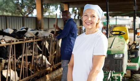 Smiling woman farmer  standing near cow and man working on background at  farm Imagens
