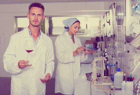 Attentive glad man testing wine qualities in manufactory chemical laboratory Banco de Imagens