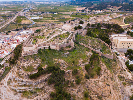 Panoramic view from drone of the castle Sagunto in summer. Valencian Community, Spain