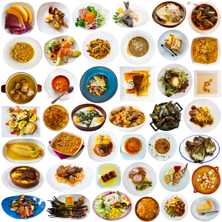 Collection of various Catalonian dishes served with vegetables and condiment on white background