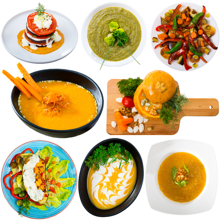 Set of assorted dishes with vegetables isolated on white, vegetarian food