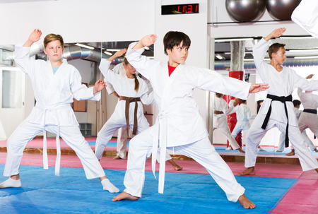Kids in kimonos practicing effective karate techniques in group workout at training room Imagens
