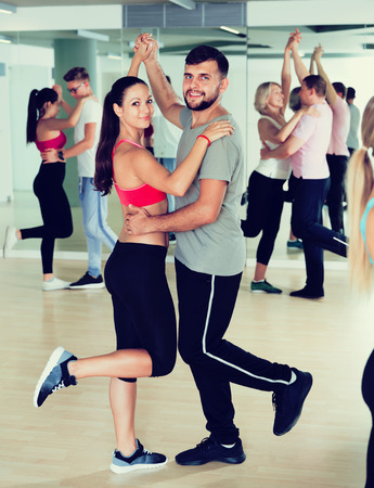Nice dancing pair dance  together  in studio