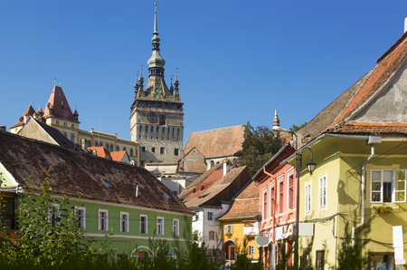 Image of view on Clock tower from streets in Sighisoara in Romania. 写真素材 - 122742900