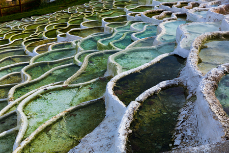 Lacy travertine formations in famous Egerszalok spa resort, Hungary Banco de Imagens