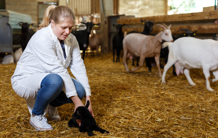 Portrait of successful professional female breeder with goatlings on goat farm