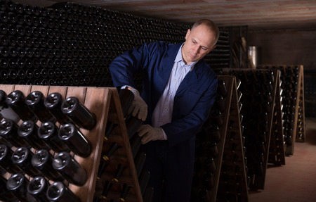 Confident male worker inspecting wine bottles on racks in wine cellar