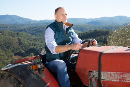Portrait of positive male farmer sitting in tractor on background with large vineyard