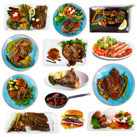 Collage of different plates of meat, pork and beef, on white background