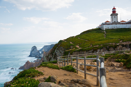 Scenic view of Cabo da Roca (Cape Roca) Lighthouse - westernmost extent of continental Europe, Portugal