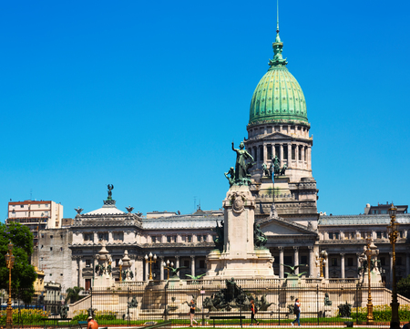BUENOS AIRES, ARGENTINA – FEBRUARY 20, 2017:  Impressive Palace of the Argentine National Congress. Buenos Aires, Argentina