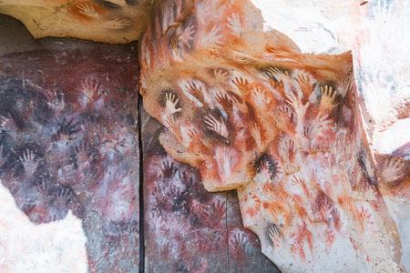 SANTA CRUZ, ARGENTINA – JANUARY 30, 2017:  Cueva de las Manos famous for historical paintings of hands. Santa Cruz, Argentina