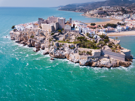 Aerial view of ancient fortress in Peniscola, Spain