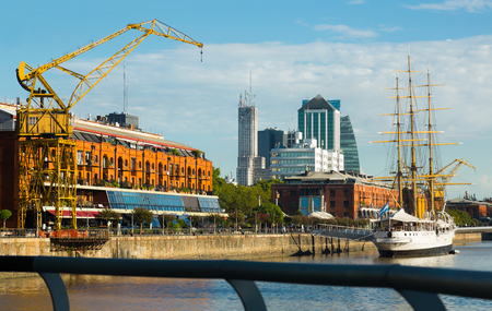 View of port and district Puerto Madero on shore of bay, Buenos Aires. Argentina, South America