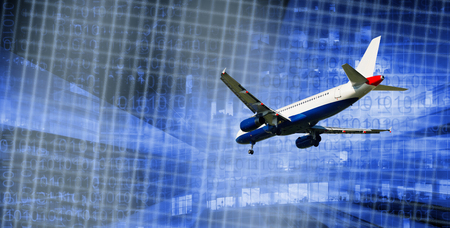 Airplane flying on blurred industrial landscape in concept technological achievements Stock Photo