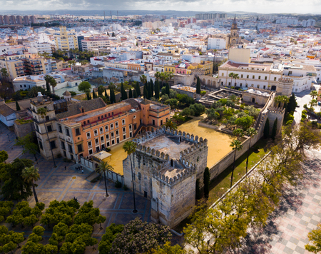 Aerial view of Catholic Cathedral and famous Alcazar of Jerez de la Frontera, Spain