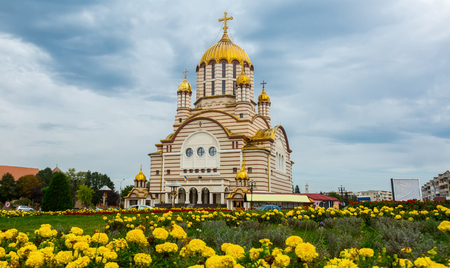 Cathedral with golden domes is landmark of Fagaras in Romania.